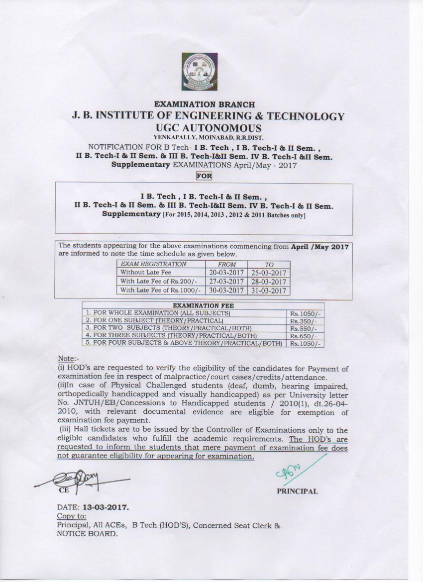 Exam Notices | J B Institute of Engineering & Technology